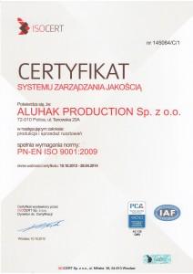 Certyficate ISO 9001:2009